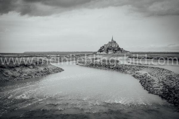 Mont Saint Michel schwarz-weiß Leinwand Foto Poster kaufen