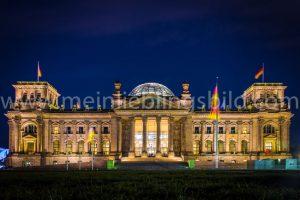 Acryl, Alu Dibond, Leinwand, Poster Berlin, Reichstag bei Nacht