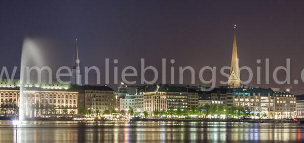 Panorama Binnenalster Hamburg bei Nacht